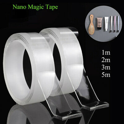 Resuable Nano Magic Tape Double-Sided Nano Traceless Tape Washable Invisible Gel