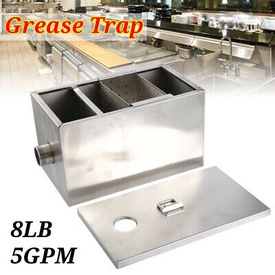 8LB 5GPM Grease Trap Stainless Steel Interceptor Filter Commercial USA Seller BP