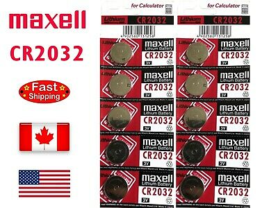 10 Pieces Maxell CR2032 / BR2032 / DL2032 Lithium Battery, 3V, 220mAh.