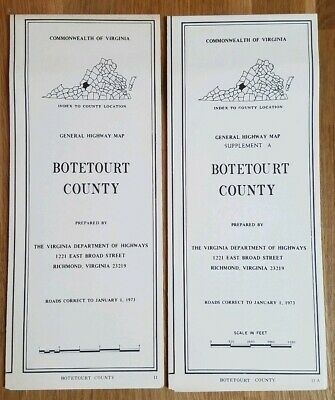Vintage Lot of 2 Botetourt County, Virginia General Highway Maps 1973
