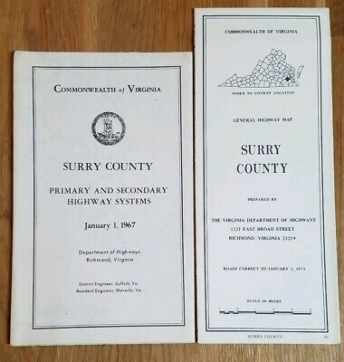 Vintage Lot of 2 Surry County, Virginia General Highway Maps 1967 1973