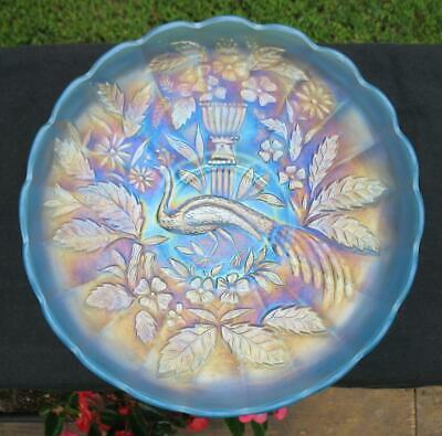 "NORTHWOOD ""PEACOCK @ the URN"" ICE BLUE CARNIVAL GLASS MASTER ICE CREAM BOWL"
