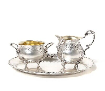 Small silver sugar bowl and creamer (milk jug) on a tray. Sweden, GEWE, 1952