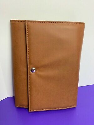 Jewelry Travel Case Brown Magnetic Closure Tri Fold Zipper Pockets Accessories