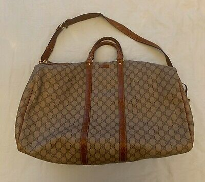 Unisex Gucci Beige GG Supreme Canvas Carry All Duffel Travel Bag