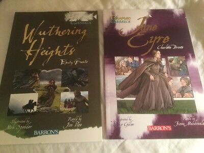 2 PB Graphic Classics Comics: Wuthering Heights & Jane Eyre Barron's