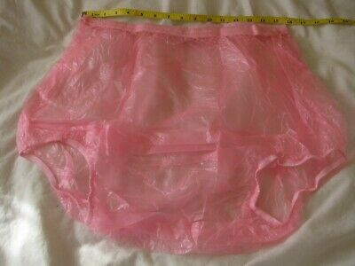"""31/""""-37/"""" WAIST APPROX XL SIZE EXTRA LARGE, ADULT BABY LIGHT RED PLASTIC PANTS"""