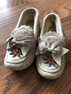 Vintage Beaded Leather Baby Moccasins 1940's