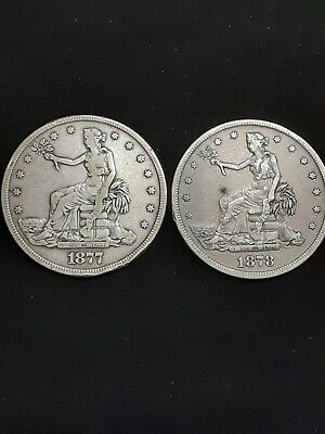 US Silver Trade Dollars. 1877-P & 1878-S!! In VF/AU Original Condition! Nice! HG