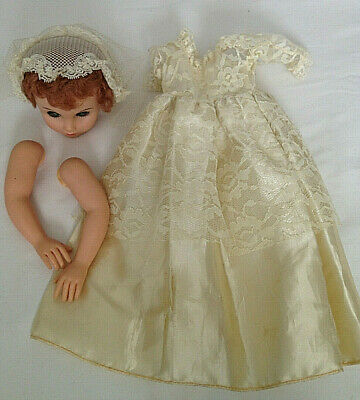 """Vintage 1950's Bride 19"""" Doll REPLACING PARTS Head, Dress & Arms, Marked AE 200"""