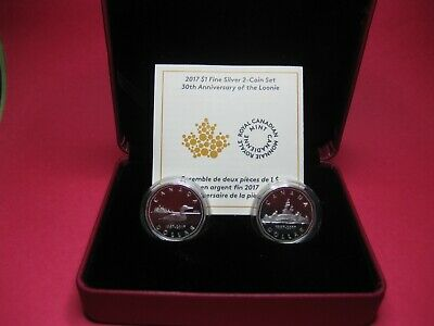 2017 $1 Fine Silver 2 Coin Set - 30th Anniversary of the Loonie