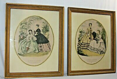 Vintage Framed Victorian French Fashion Prints La Mode Illustree Pair of 2