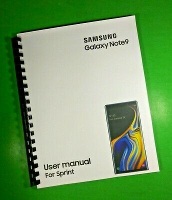 "LASER 8.5X11"" Samsung Galaxy Note9 For Sprint Phone 183 Page Owners Manual Guide"