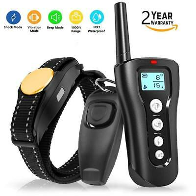 Dog Training Collars 2018 Upgraded 1000ft Remote Rechargeable Waterproof Shock