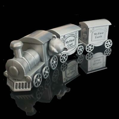 Baby Tooth & Curl Train Pewter Finish Carriage/Newborn/Baby Shower/Keepsake