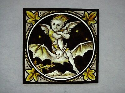 Beautiful Stained glass ELF Hand painted Kiln fired 160 x 160 mm Antique style