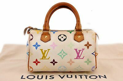 Auth Louis Vuitton Monogram Multicolor Mini Speedy White Hand Bag Pouch LV 92786