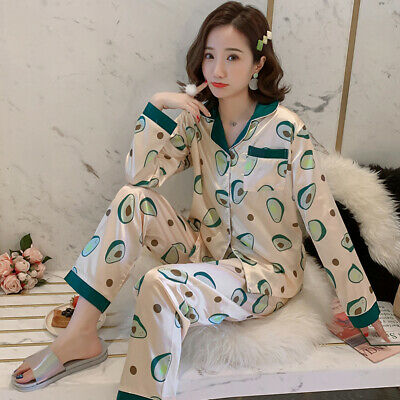 Ladies Luxury Nightwear Pyjamas Set Satin Silk Sleepwear Soft Comfort Autumn Pj
