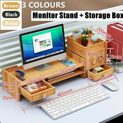 Wooden Monitor LED LCD Computer Stand Riser Desktop Holder File Storage Drawer