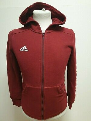 O156 Girls Adidas Red Long Sleeve Zip Up Hoodie Uk L 8 Age 13-14 Years