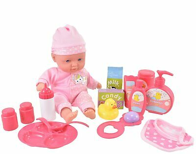 Toyland® 16piece Baby Doll With Accessories -Feeding & Bathing - (ES616-TL)