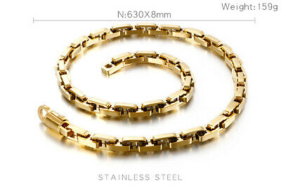 GNAYY Gold Stainless steel Square Long Box Chain necklace Mens Hip-HOP 8mm 63cm