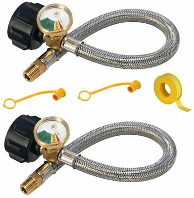 """2pcs 12""""-1/4"""" NPT RV Propane Hose with Gauge Perfect for BBQ Camper Male 1/4 NPT"""