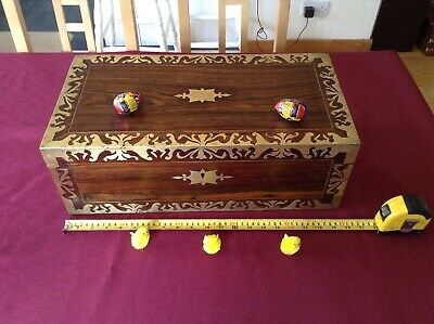 Lovely large Rosewood brass inlaid Antique writing slope - bottles and skiver