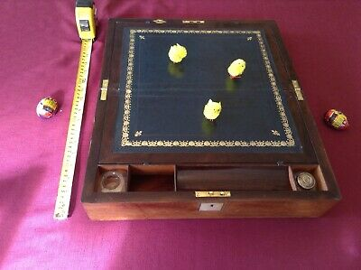 Mahogany and MOP inlay Antique writing slope - ink bottles,  new skiver