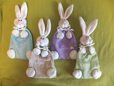 4 White Felt Easter Bunny Fabric Candy Or Gift Card Holders