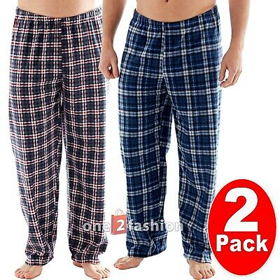 2 Pack Mens Fleece Pyjamas Lounge Pants Pyjama Bottoms Trousers Pjs Nightwear