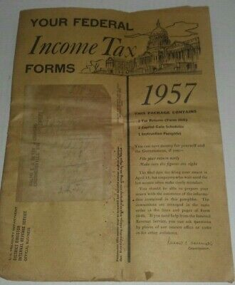 *RARE* 1957 Federal Income Tax Forms, BLANK, w/Instructions - Indiana, Form 1040