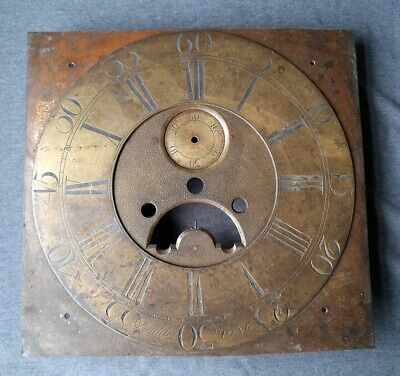 Antique Brass Longcase Clock Dial Baddely Tong For Restoration