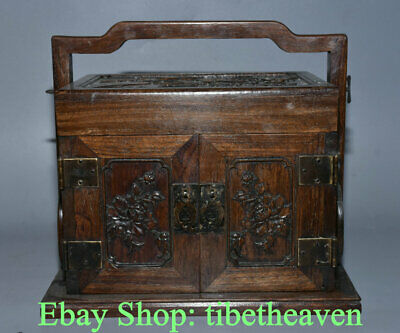 """11.2"""" Old Chinese Huanghuali Wood Carving Dynasty Portable Cabinet Drawer Box"""