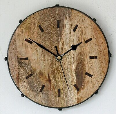 NEW 21cm Wooden Wall Clock - Industrial Metal Modern Rustic Country Chic Gift