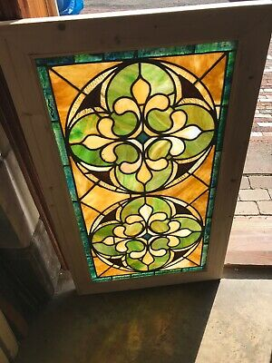 Sg 3215 Beautiful antique stained glass window 22.75 x 38.75