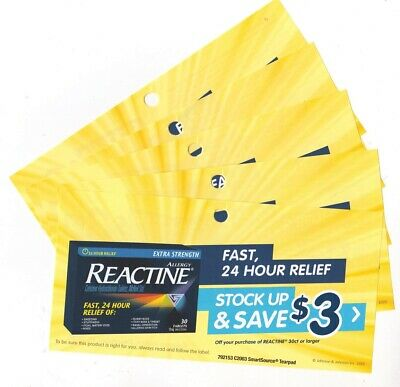 10 x Save $3.00 on Reactine Allergy Products Coups (Canada)