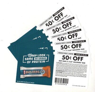 14 x Save $0.50 on Clif Builders Protein Bars Coups UPC 043 (Canada)