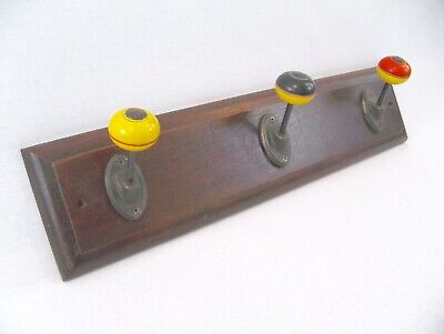 Antique Bakelite Knobs on Oak Coat/Hat Rack w/ Wall Storage Red,Yellow, Black
