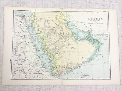 1892 Antique Map of Saudi Arabia Arabian Empire Original 19th Century G W Bacon