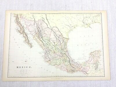 1888 Antique Map of Mexico Central America Pacific 19th Century Blackie & Son