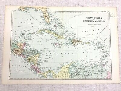 1892 Antique Map of The West Indies Central America Haiti Jamaica Cuba G W Bacon