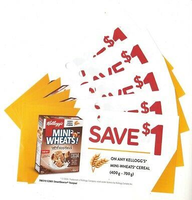 14 x Save $1.00 on Kelloggs Mini Wheats Cereal Coupons UPC396(Canada)