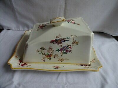 Antique Woods Ivory Ware England Large Cheese Dish Chinese Theme 11 x 24 x 19 cm
