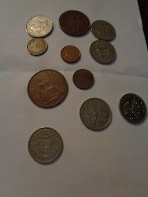 10 mixed coins 6 x 5 old pences 1 x one penny 1964 1 x 10 pence 2 x 1/2 pence