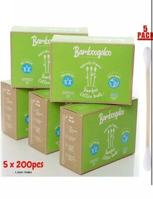 BAMBOOGALOO Organic Bamboo Cotton Buds - 100% Plastic Free, Eco-Friendly & Biode