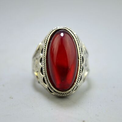 China Collectable Handwork Old Miao Silver Carve Flower Inlay Agate Usable Ring