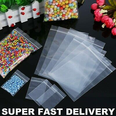 100 x Grip Seal Bags Clear Plastic Resealable Press Poly Super Fast Delivery