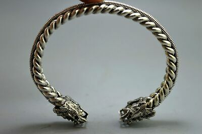 China Collectable Handwork Old Miao Silver Carve Dragon Head Exorcism Bracelets