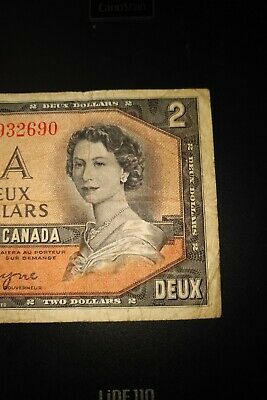 1954 Devil's Face $2 Dollar Bank of Canada Banknote DB9932690